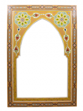 Moroccan Mirror Arched Zouak Wood Mustard Handmade Large 90cm x 60cm  ZML1